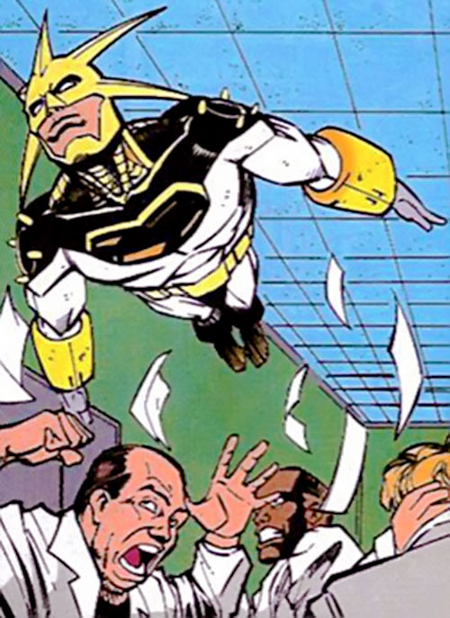 Aztek (DC Comics) flying in a hospital corridor