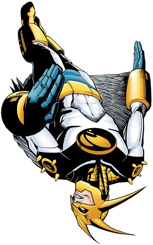 Aztek (DC Comics) hovering upside-down