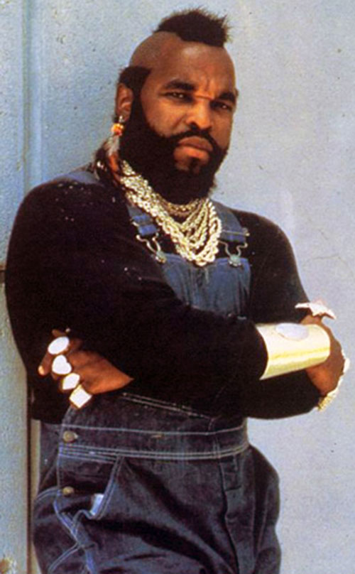 B.A. Baracus (Mister T in The A Team) in denim coveralls