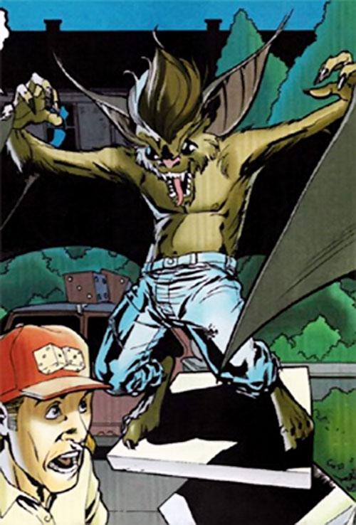 Baby Bat (Batman character) (DC Comics) grabs a pizza
