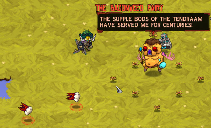 Baconweed Fairy in the Crashlands video games - teeth missiles