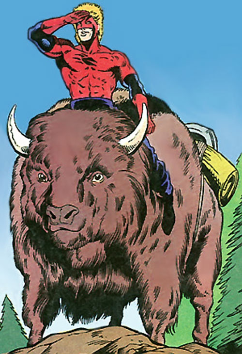 Badger (First Comics) riding a buffalo