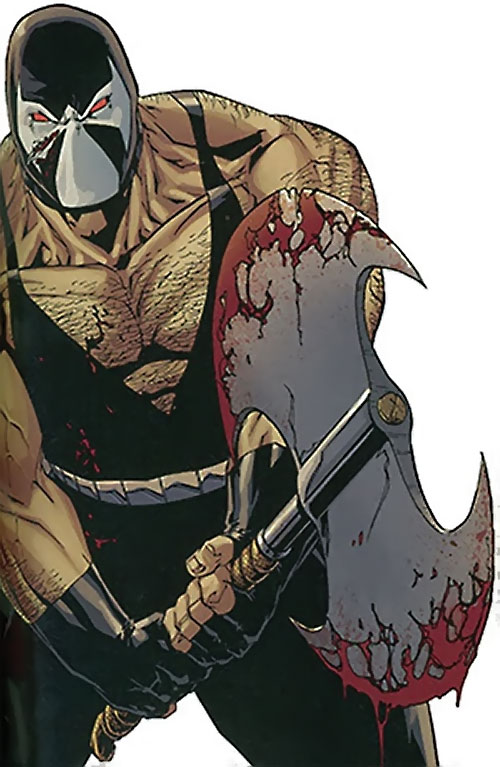 Bane of the Secret 6 (DC Comics) with a bloody battle axe
