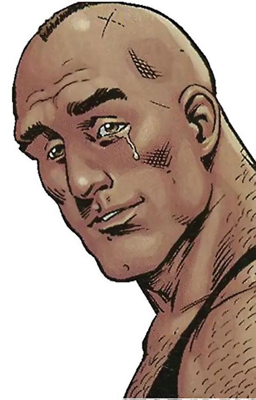 Bane of the Secret 6 (DC Comics) tear rolling face closeup