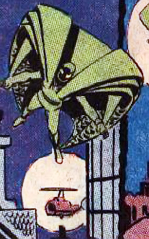 Banshee (Question enemy) (Charlton Comics) gliding in the city