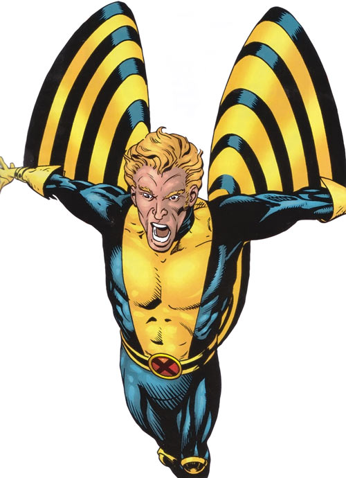 Banshee of the X-Men (Marvel Comics) in the blue and gold uniform