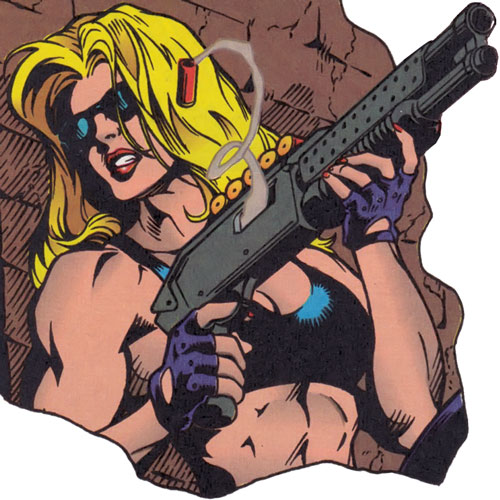 Barb Wire (Dark Horse Comics) with a shotgun