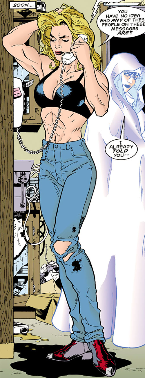 Barb Wire (Dark Horse Comics) in torn jeans and cowboy boots