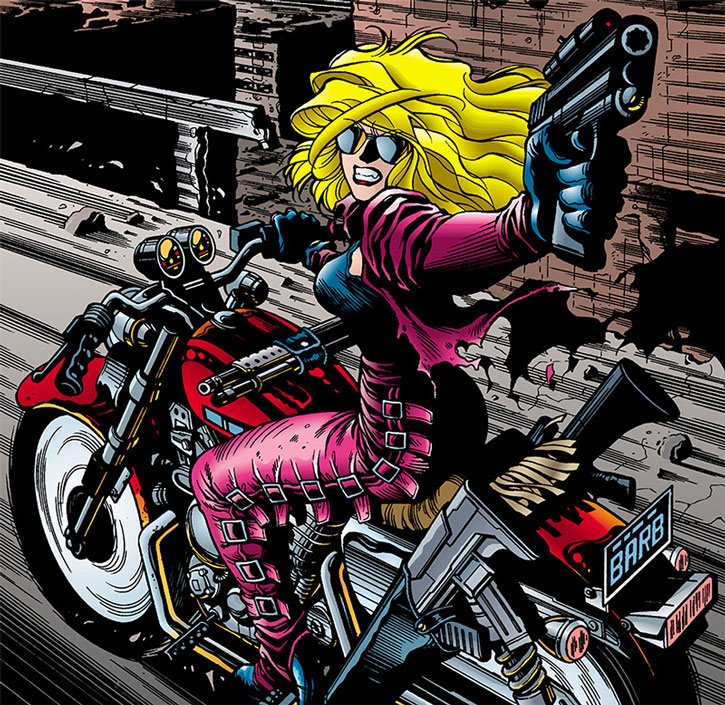 Barb Wire with her motorbike and guns