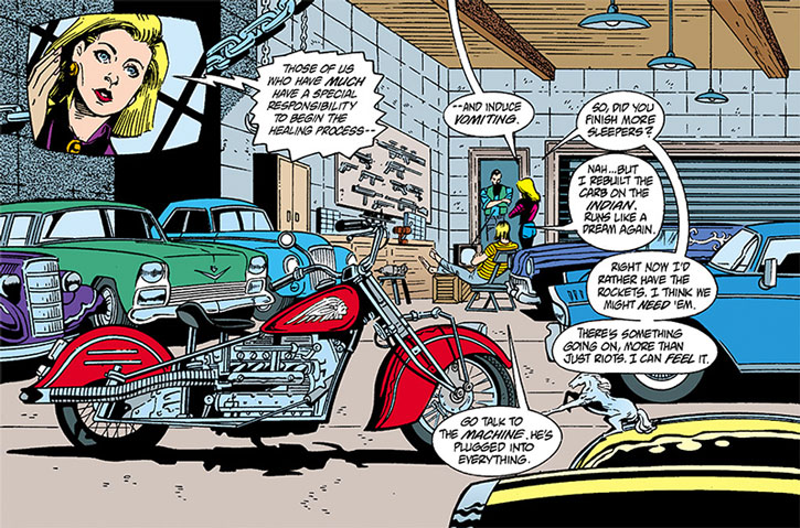 Barb Wire's garage with her rides