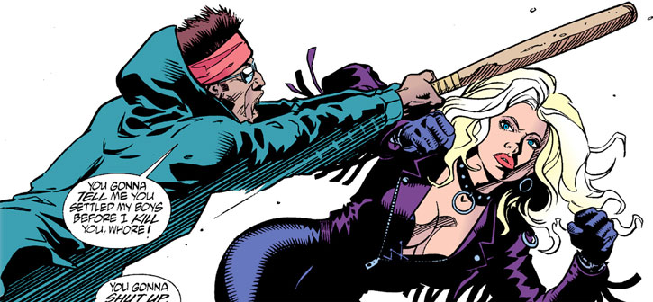 Barb Wire dodges a baseball bat blow