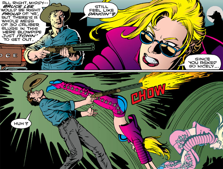 Barb Wire dodges shotgun fire