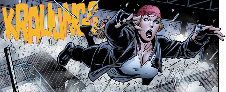 Barb Wire (Dark Horse Comics) in 2015 with a red bandanna, leaping