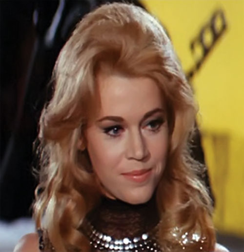 Barbarella (Jane Fonda) smiling face closeup