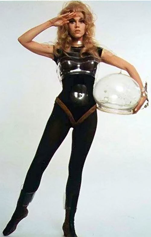 Barbarella (Jane Fonda) in her black spacesuit
