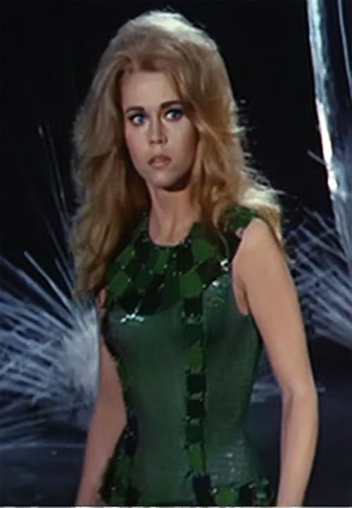 Barbarella (Jane Fonda) in a green dress