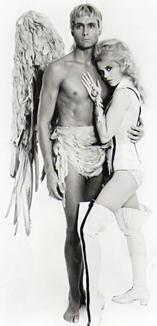 Barbarella (Jane Fonda) hugging the angel