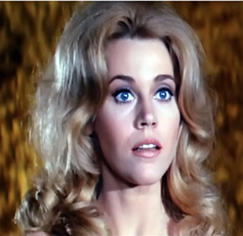Barbarella (Jane Fonda) surprised face closeup