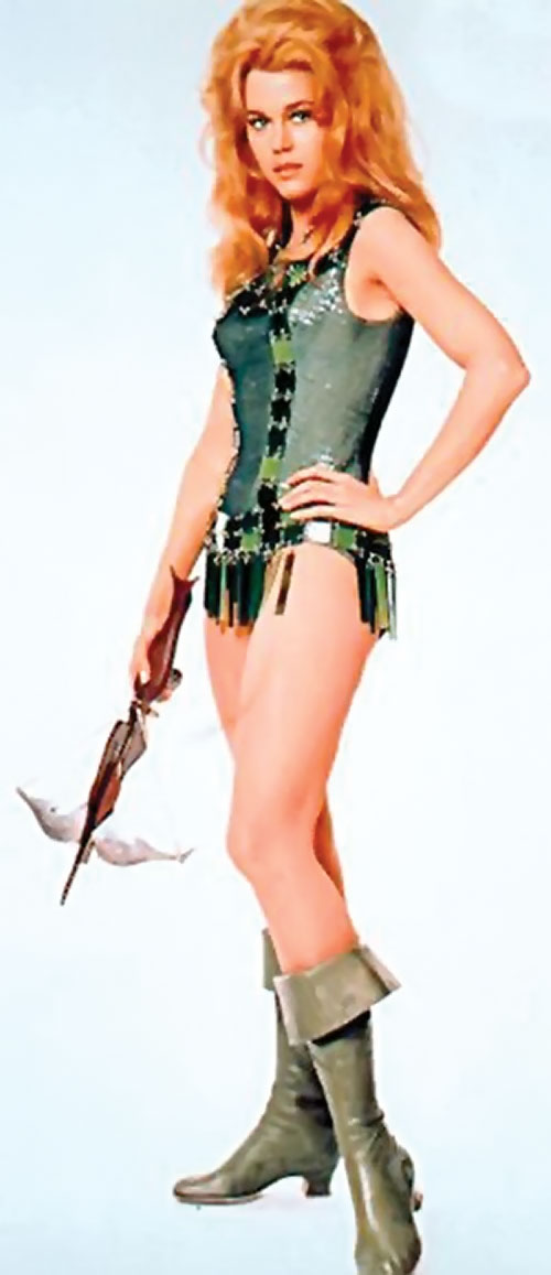 Barbarella (Jane Fonda) with green mini-dress and crossbow
