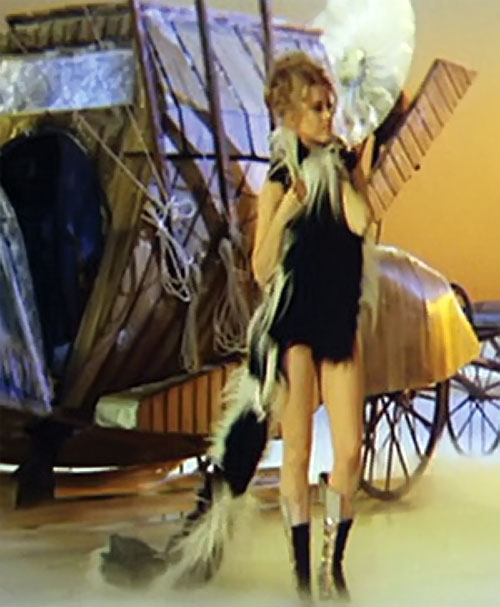 Barbarella (Jane Fonda) with furry black mini-dress