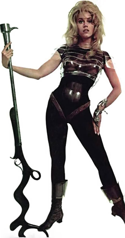 barbarella jane fonda black space suit and strange rifle