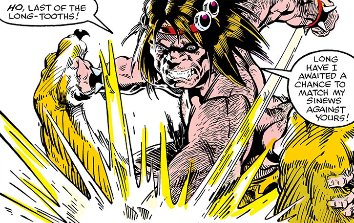 Barbarus of the Savage Land Mutates (Marvel Comics fighting Zabu)