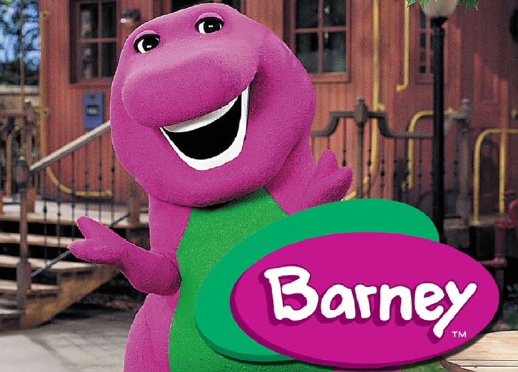 Barney the purple dinosaur with logo