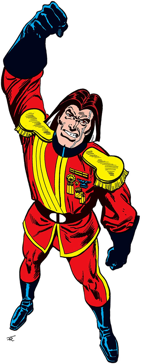 Baron Bedlam (DC Comics) over a white background, raising his fist