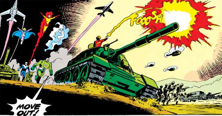 Baron Bedlam (Outsiders enemy) (DC Comics) with the Masters of Disaster and Soviet troops
