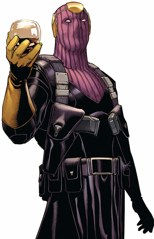 Baron Helmut Zemo (Marvel Comics) with two holstered pistols and a glass of wine