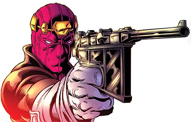 Baron Helmut Zemo aims a broomhandle Mauser pistol