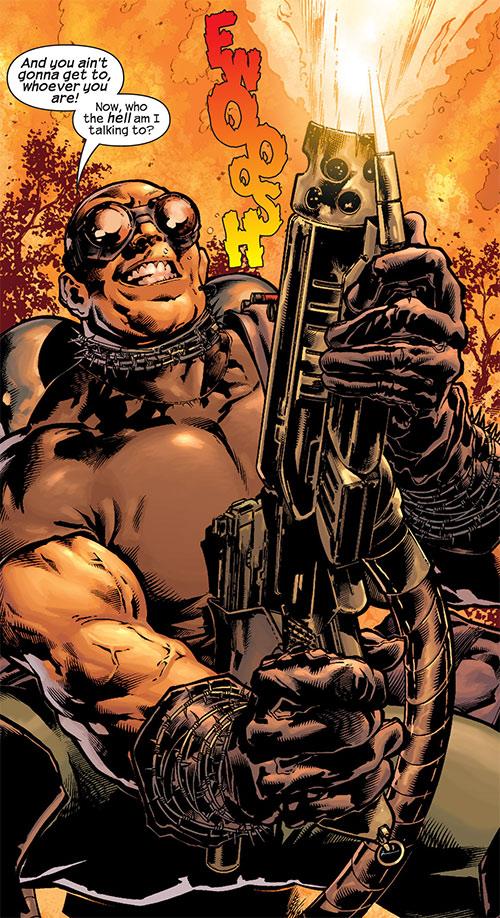Barricade (Captain America enemy) (Marvel Comics) firing a flamethrower