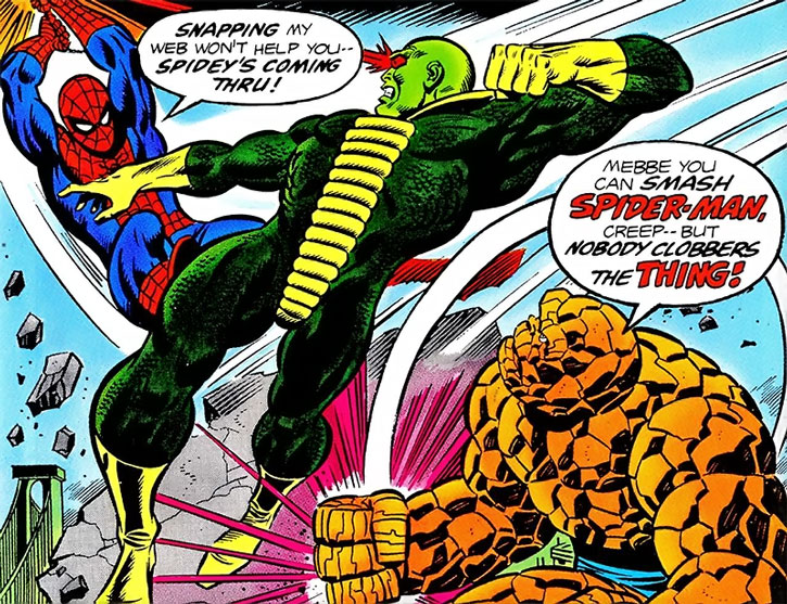 The Basilisk fights Spider-Man and the Thing
