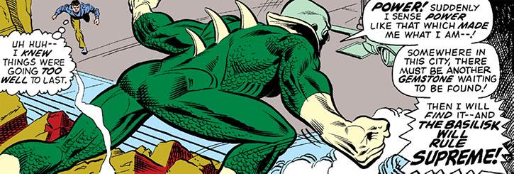 Basilisk (Marvel Comics) view of bony plates on his back