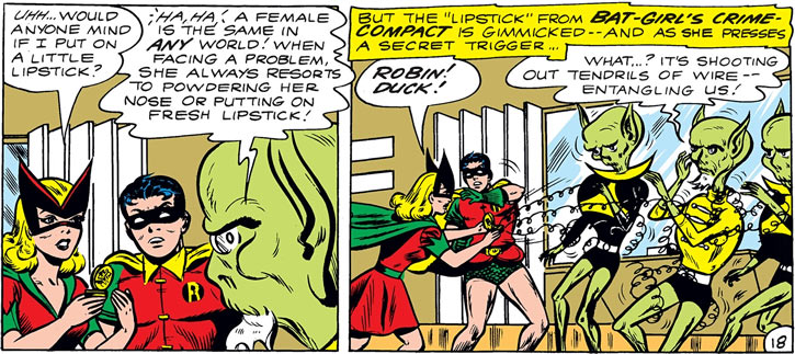 Bat-Girl (Betty Kane) and Robin fight aliens