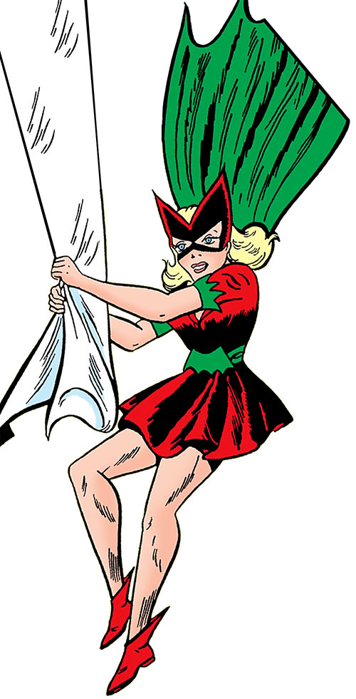 Bat-Girl swinging on a drape, over a white background