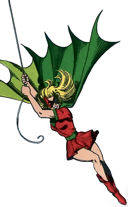 Bat-Girl swinging on a line over a white background, Silver Age art