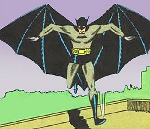 Very early Batman landing on a roof