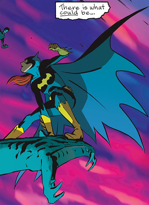 Batgirl (Barbara Gordon) (2003 Year One) on a gargoyle by dawn