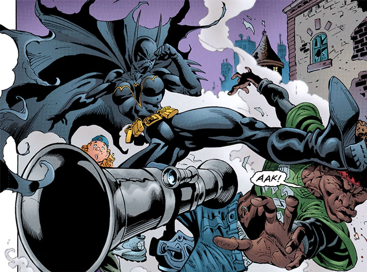 Batgirl (Cassandra Cain) takes out a man with a bazooka
