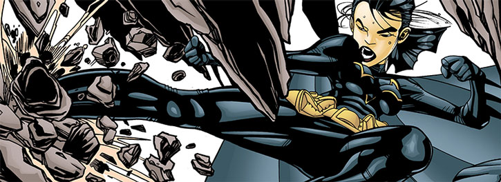 Batgirl (Cassandra Cain) kicks through a wall