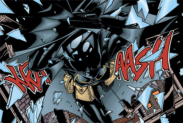 Batgirl (Cassandra Cain) crashes through a window