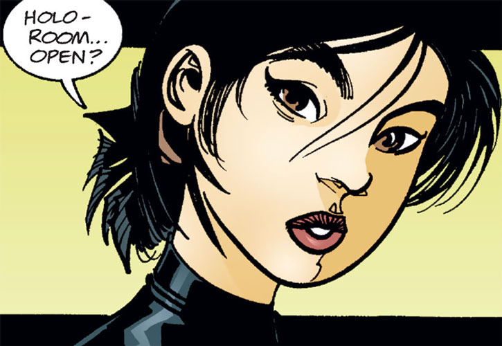 Batgirl (Cassandra Cain) inquiring about the training room