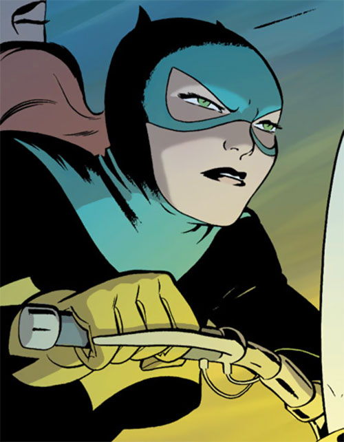 Batgirl Year One (Barbara Gordon) (DC Comics) riding her motorbike
