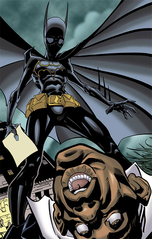 Batgirl (Classic Cassandra Cain) (DC Comics) standing over a corpse with a paper