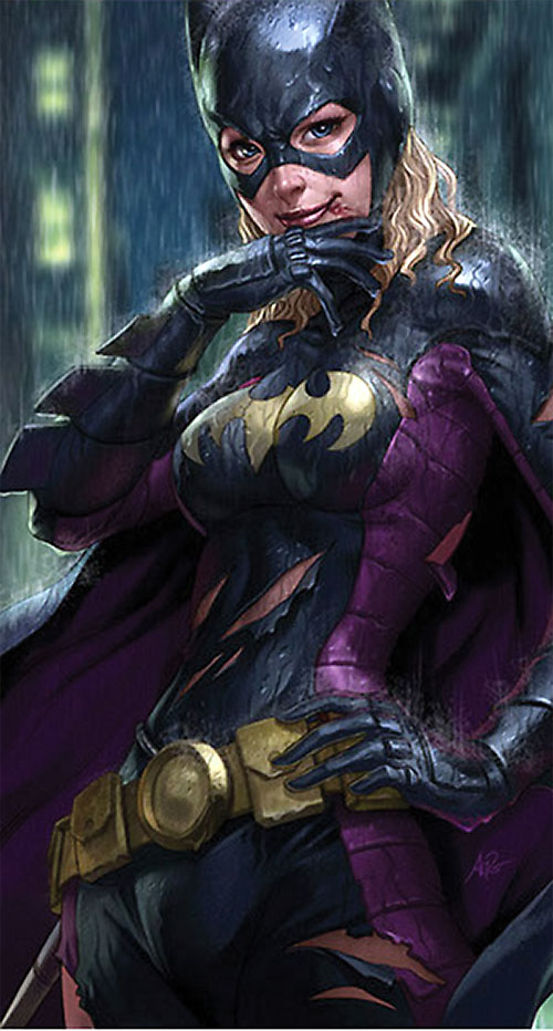 Batgirl (Stephanie Brown) (DC Comics) bloodied but smiling