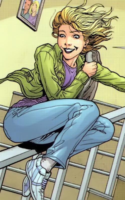 Batgirl (Stephanie Brown) (DC Comics) sliding on a bannister