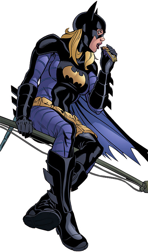 Batgirl (Stephanie Brown) (DC Comics) munching sitting on a flagpole