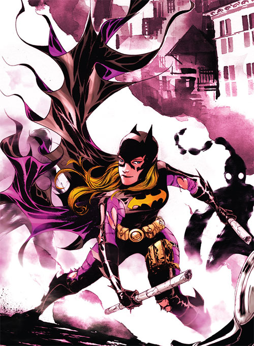 Batgirl (Stephanie Brown) (DC Comics) in smoke with damaged costume