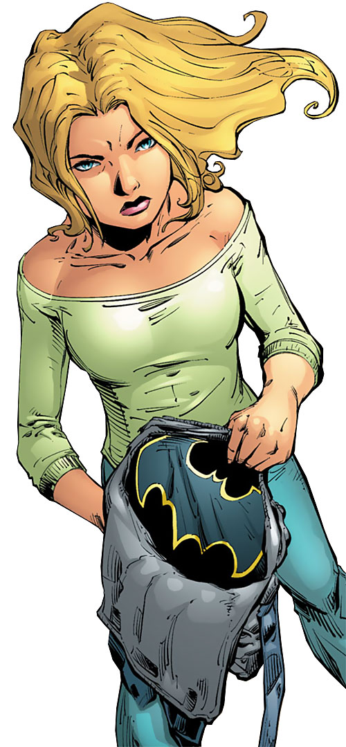 Batgirl (Stephanie Brown) (DC Comics) about to put on her costume